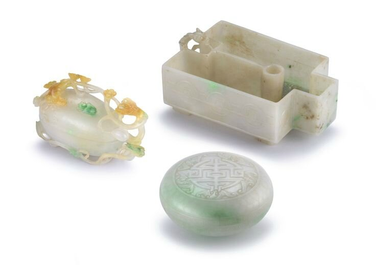 Two jadeite boxes and covers and a jadeite 'chilong' washer, late Qing dynasty and 20th century