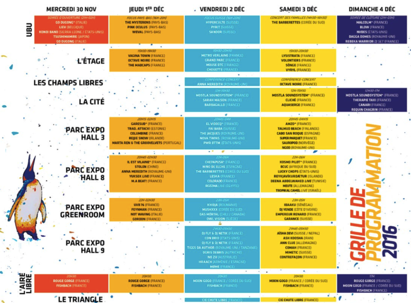 festival Rencontres Trans Musicales Rennes 2016 programmation line-up salle
