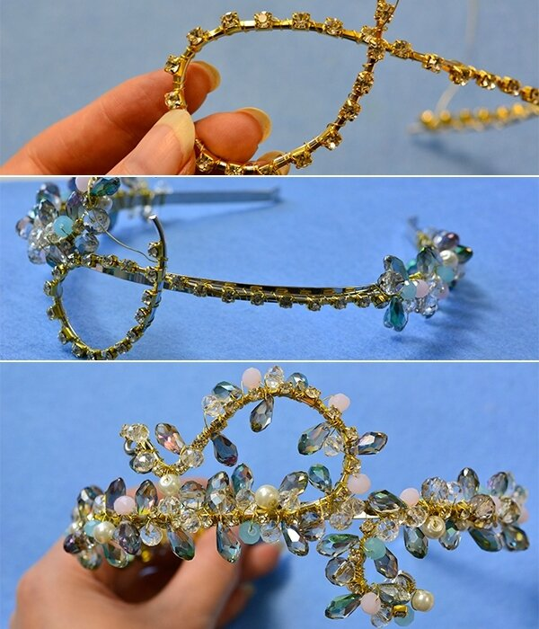 How to Make Handmade Bling Glass Beaded Headbands for Wedding6004004