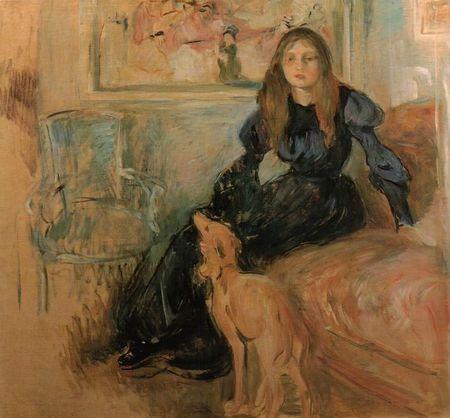berthe-morisot- Julie etsa levrette 1893