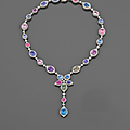 Multicolor sapphire diamond and gold necklace