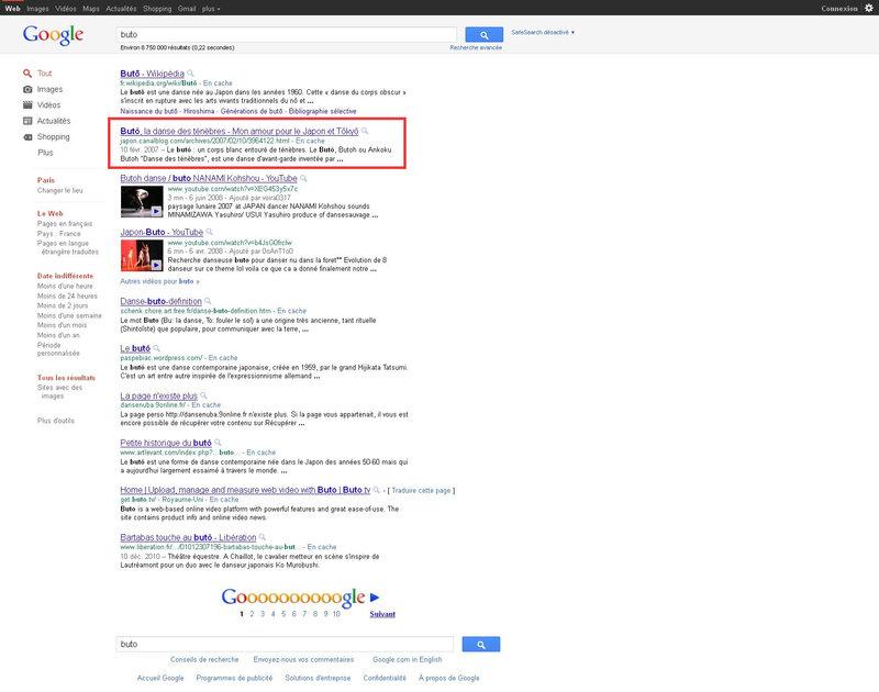 Canalblog Google recherche Buto