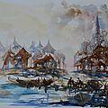 Village de pêcheur,aquarelle, 50x65 papier grain f