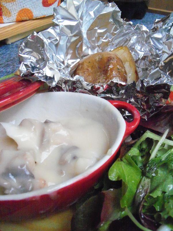 cassolette de cabillaud aux crevettes grises et champignon