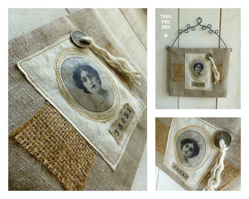 Vide-poches muraux lin chanvre jute fil de fer N°37