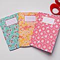 Lot de trois carnets motifs papier japonais, 30