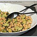Salade de pois chiches et courgettes à la menthe.