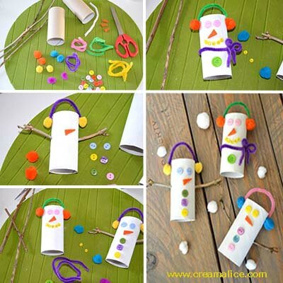 Diy bonhomme de neige rouleaux papier toilette for Decoration de noel en rouleau papier toilette