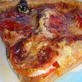 Tarte fine, rosace de légumes et mozzarella, tapenade noire, son sablé au parmesan et au thym