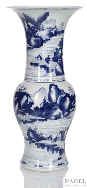 A finely painted blue and white porcelain yenyen vase, China, Kangxi period