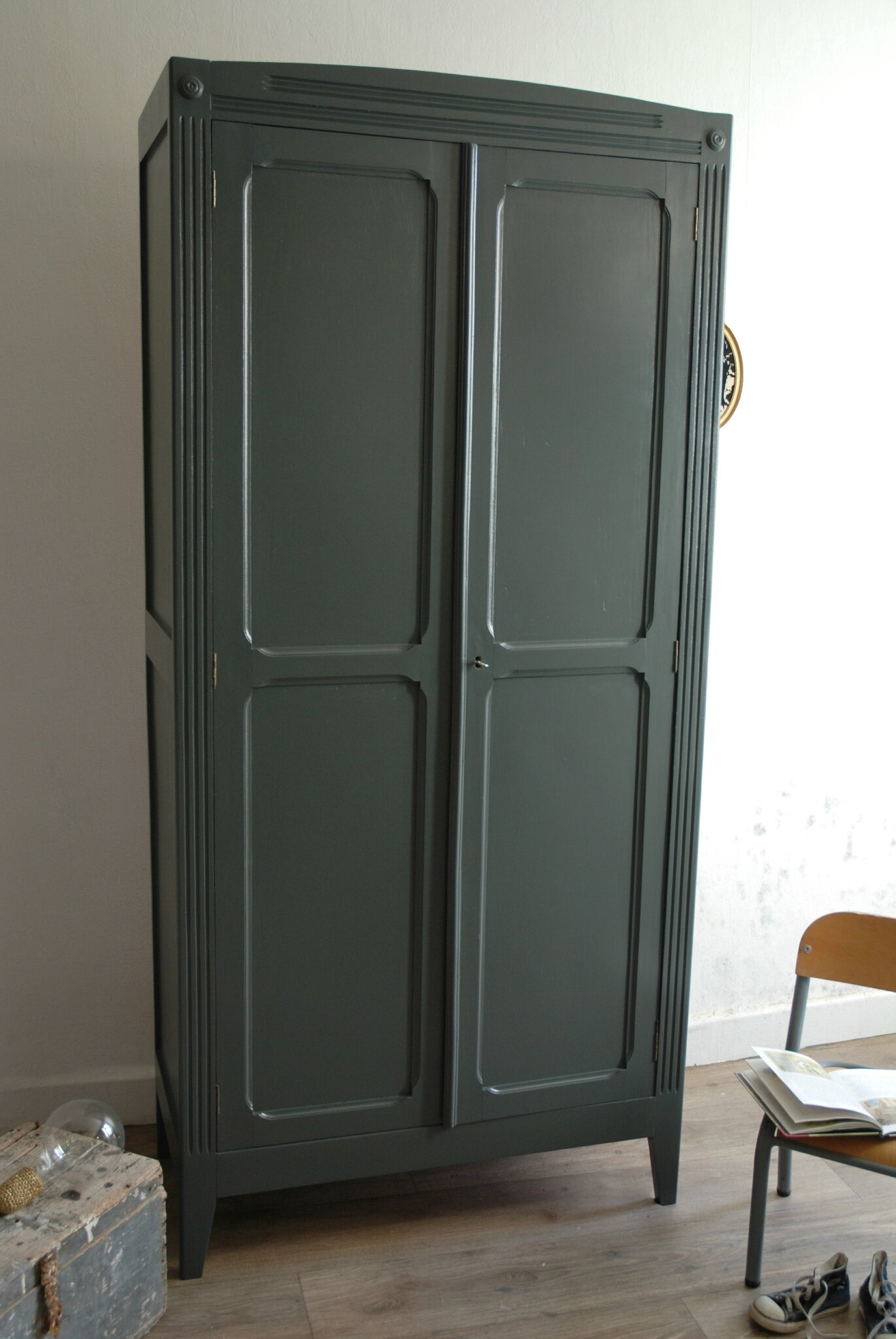 armoire parisienne gris ardoise vendue atelier vintage. Black Bedroom Furniture Sets. Home Design Ideas