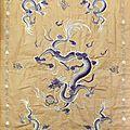 Broderie décorative en fils de soie, indochine, époque coloniale