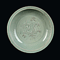 A rare longquan celadon plate with dragon in relief, china, yuan dynasty (1279-1368)
