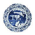A blue and white 'hunt' dish. bearing a chenghua six character mark, but kangxi