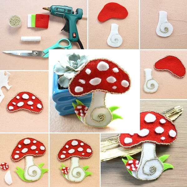 600-6 -Pandahall Tutorial on How to Make Easy Felt Mushroom for Kids