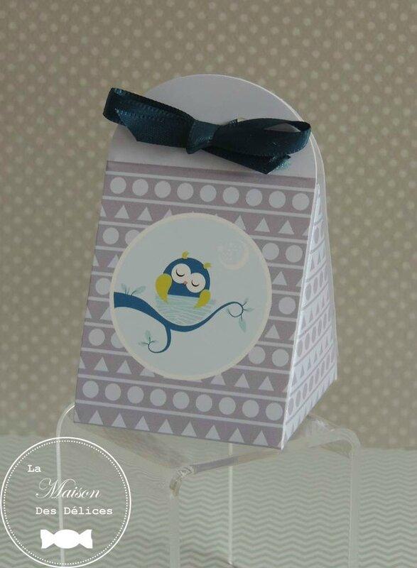 ballotin dragées baptême thème hibou chouette animaux forêt bleu canard gris teal ruban satin
