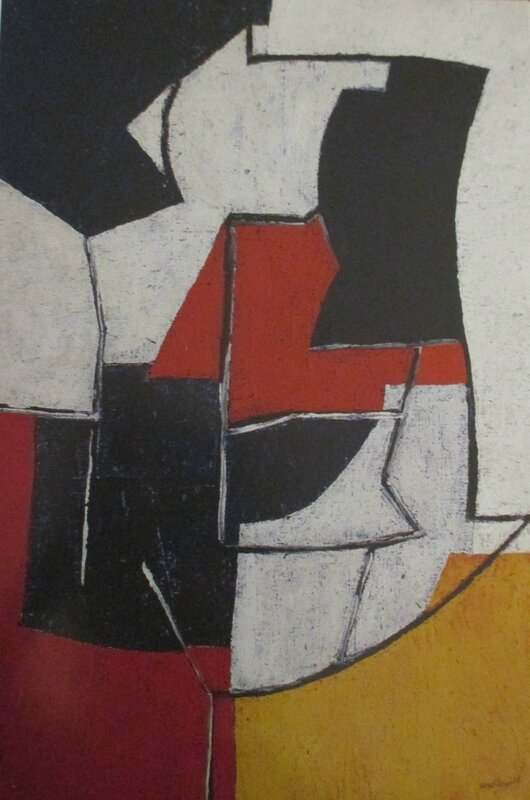 Composition rouge jaune blanc bleu aux traits 1952