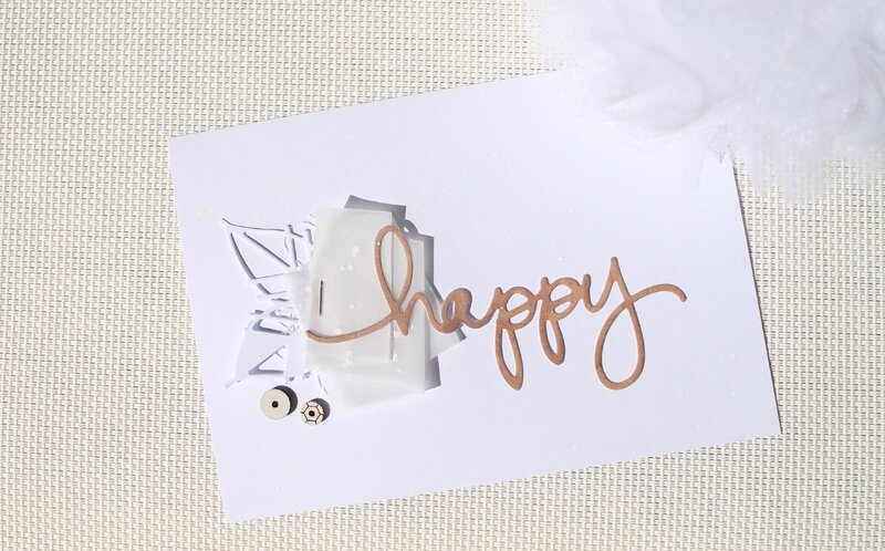 Carte HAPPY encre sur le scrap