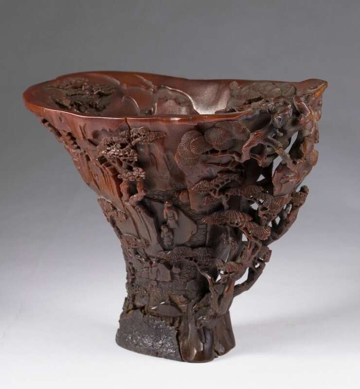 Chinese Rhinoceros Horn Landscape Libation Cup, 17th Century
