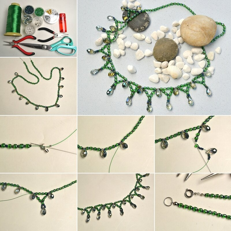 1080-Pandahall-Tutorial-on-How-to-Make-Green-Seed-Beads-Necklace-with-Glass-Beads