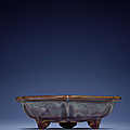 A very rare 'Number six' jun tripod narcissus bowl, Yuan-Ming dynasty, 14th century