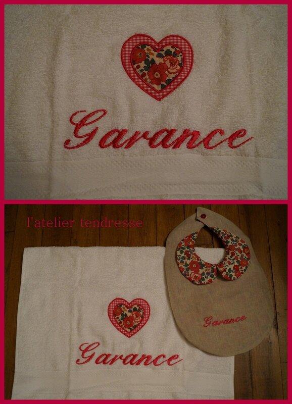 Kit serviette + bavoir Garance