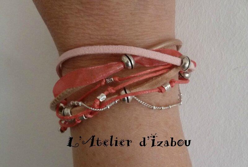 P1210649 Bracelet multirang et multimatière ton rose et perles métal