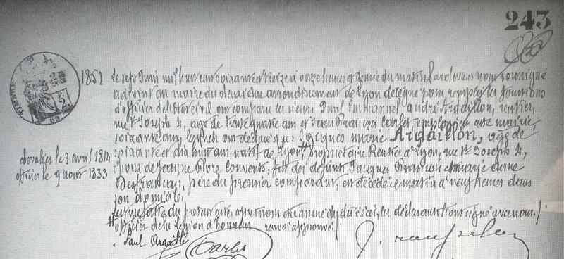 acte décès Ardaillon 1873
