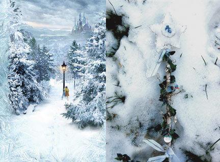 Baguette de mariée dans la neige