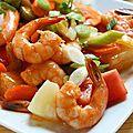 Crevettes légumes et sauce douce