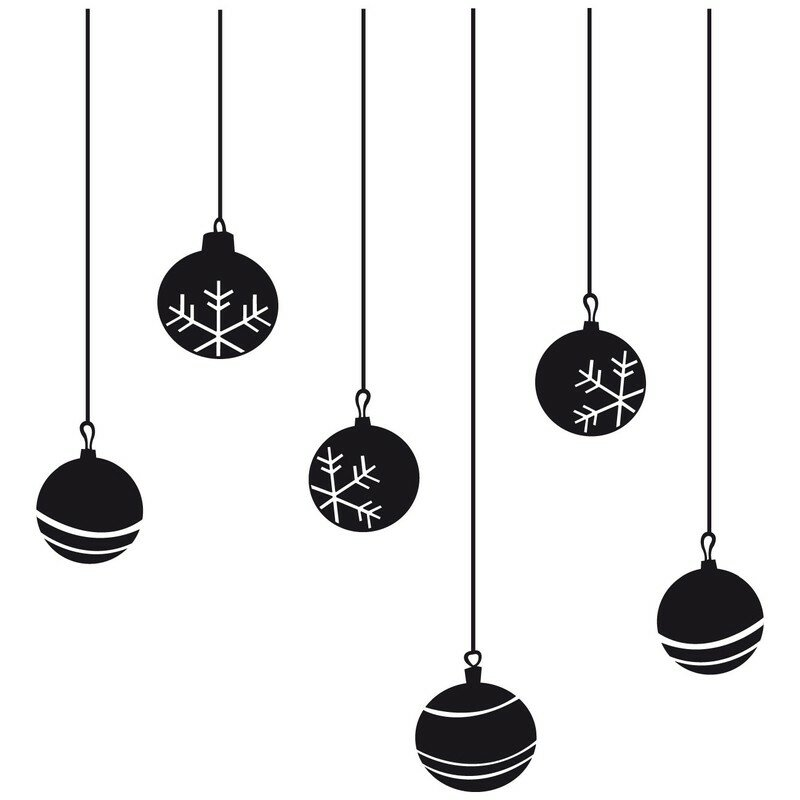 stickers boules de no l noir photo de d corez votre no l. Black Bedroom Furniture Sets. Home Design Ideas