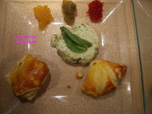 Feuilletés chèvre-curry-basilic