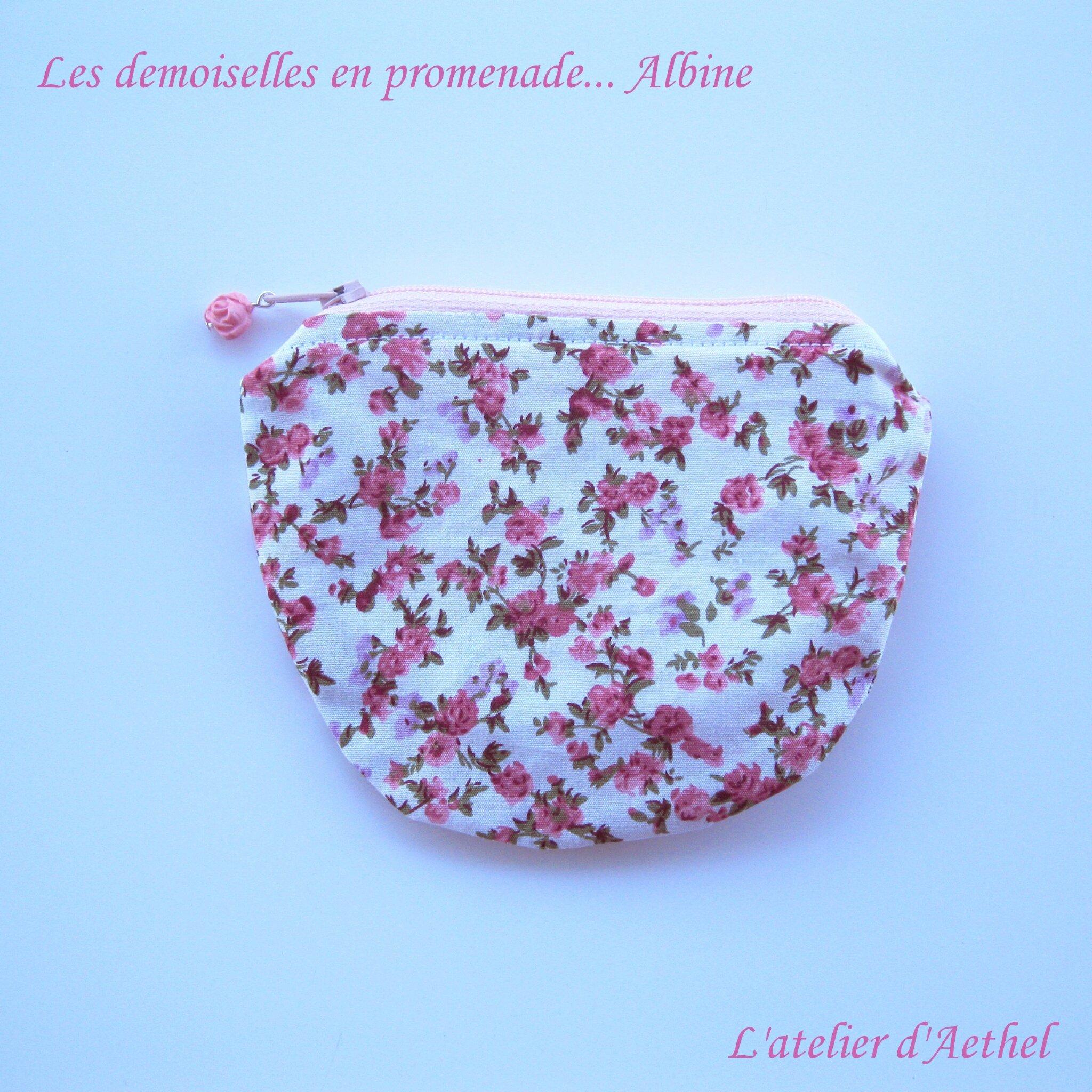 Porte-monnaie Albine, tissu à fleurs rose