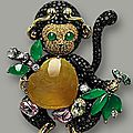 Multi-colour jadeite, coloured sapphire and diamond 'monkey' brooch, mason tsai