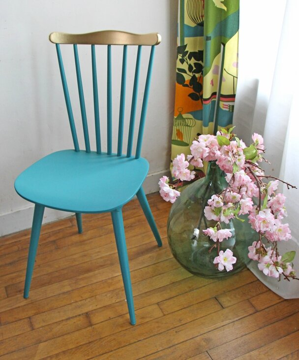 chaise-bistrot-vert-et-or