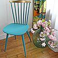 Chaise baumann turquoise et or