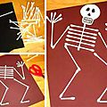 ☠ ✄ carte squelette cotons tiges / diy q-tip skeleton ✄ ☠