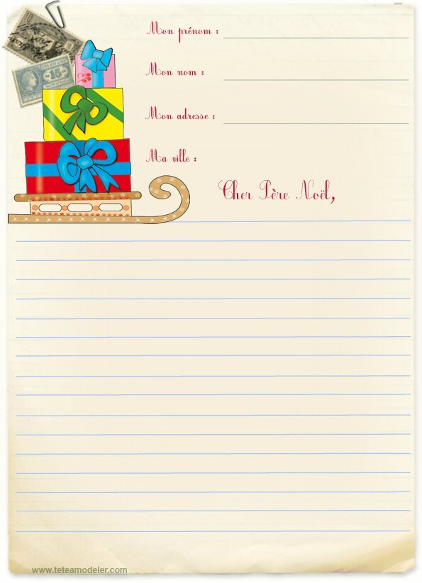 lettre pere noel ligne 5