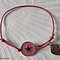 Bracelet Star rose sur fil élastique rose