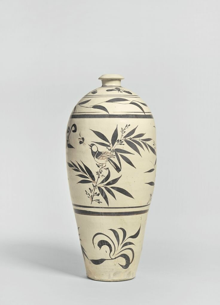 A 'Cizhou' painted 'Bird and Flower' meiping, Jin - Yuan dynasty