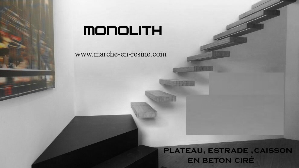 monolith marche en beton cire escalier suspendu escalier. Black Bedroom Furniture Sets. Home Design Ideas