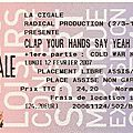 Clap your hands say yeah / cold war kids / elvis perkins - lundi 12 février 2007 - la cigale (paris)