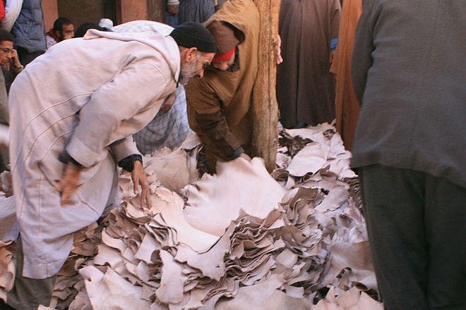Peaux tannées : vente à la criée du souk NHAL à Marrakech