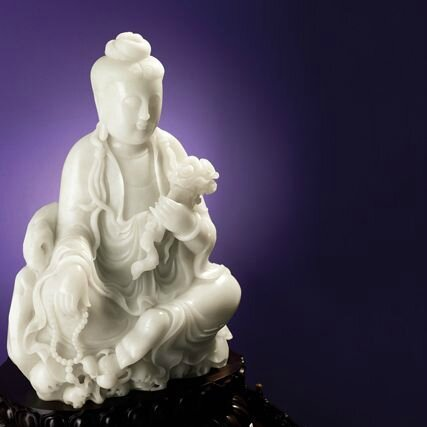 Impressive White Jade 'Guanyin' Ornament, and a matching Bronze Incense Burner