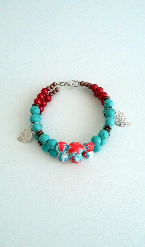 bracelet ethnique fimo turquoise et rouge