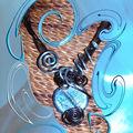 Collier maxi murano ronde et fil alu noir et turquoise (N)