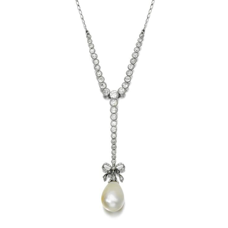 Natural pearl and diamond pendent necklace, early 20th century