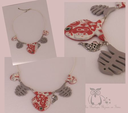 Collier poisson corail Gris