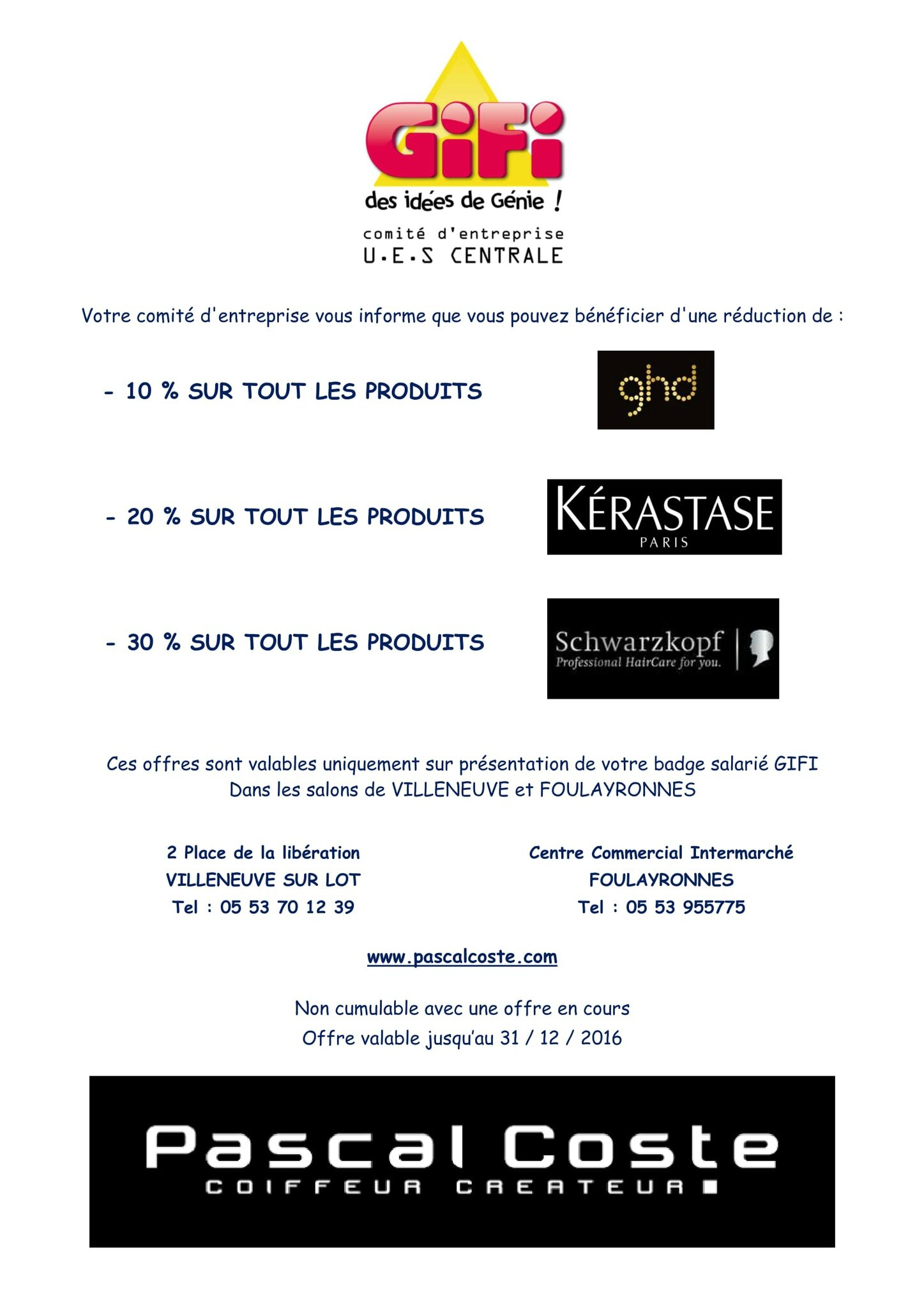 Salon de coiffure pascal coste 2016 syndicat cftc gifi for Salon pascal coste