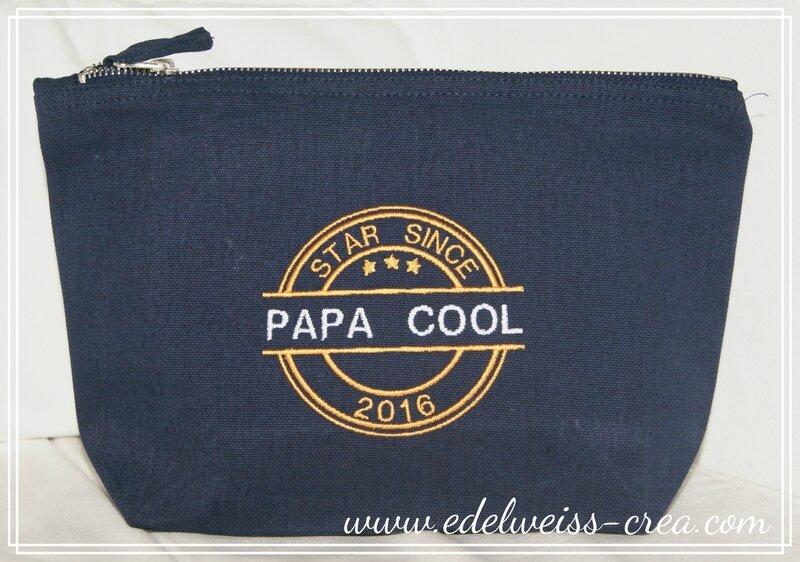 Trousse brodée - Papa cool depuis année - Cadeau fête des pères